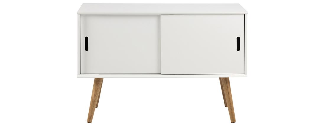 Buffet scandinave blanc mat avec portes coulissantes SNOOP
