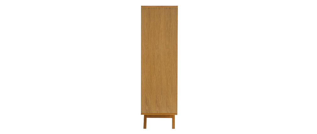 Buffet scandinave haut 4 portes bois et blanc HELIA