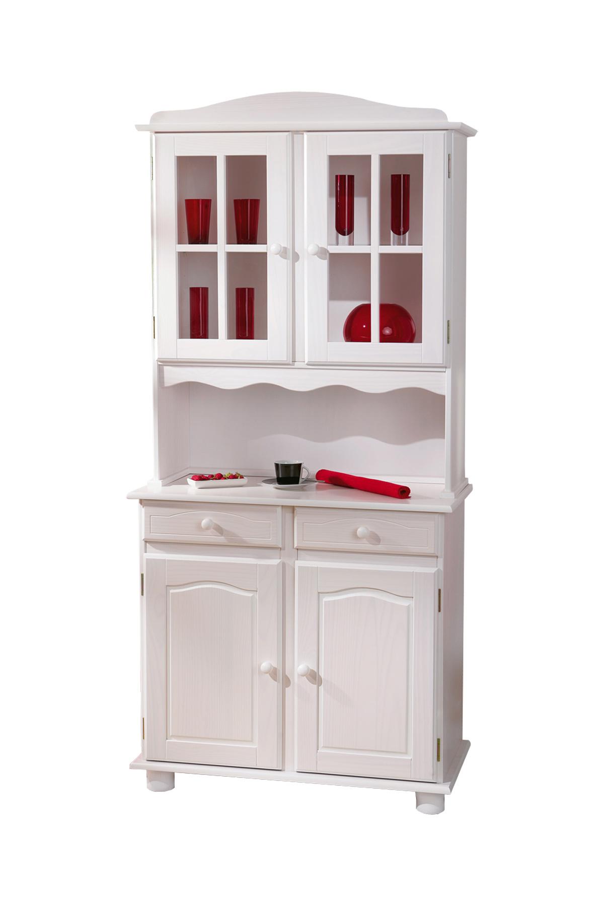 Buffet vaisselier 2 portes pin blanc milena miliboo - Buffet 2 portes blanc ...
