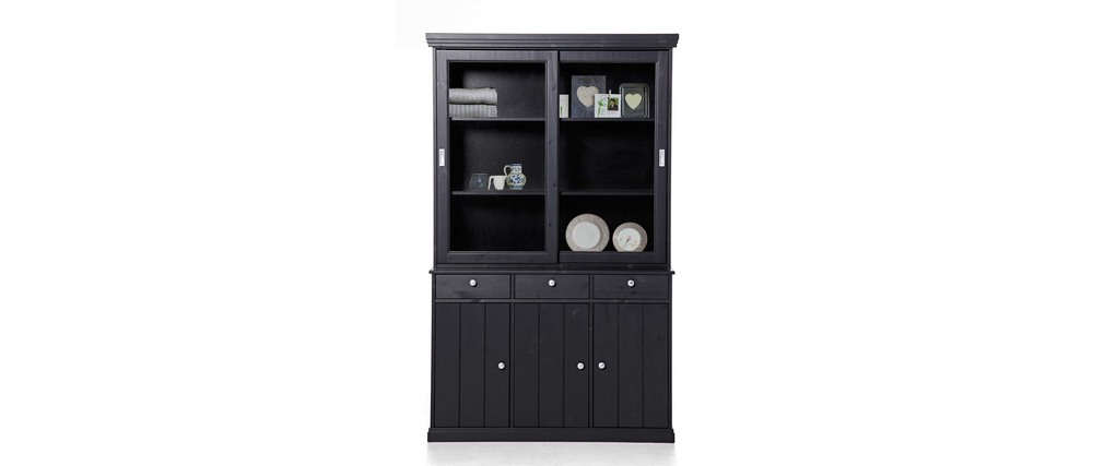 buffet vaisselier pin noir abaco miliboo. Black Bedroom Furniture Sets. Home Design Ideas