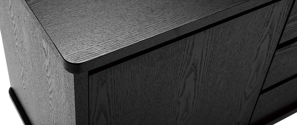 Buffet vintage noir avec portes et tiroirs L160 cm FIFTIES