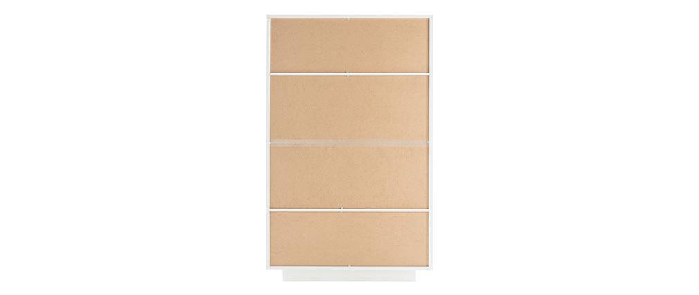 Buffet vitré design blanc et décor bois clair LAND