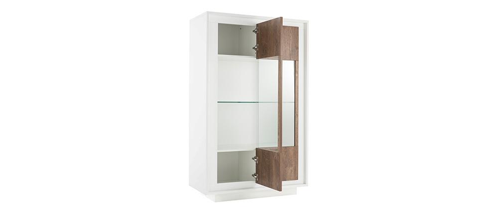 Buffet vitré design blanc et décor bois foncé LAND