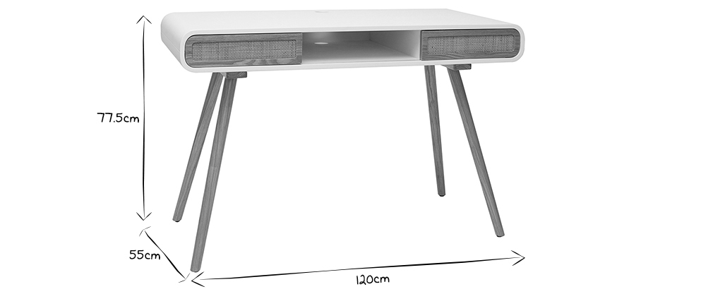 Bureau avec portes coulissantes et cannage L120 cm OLYMPE