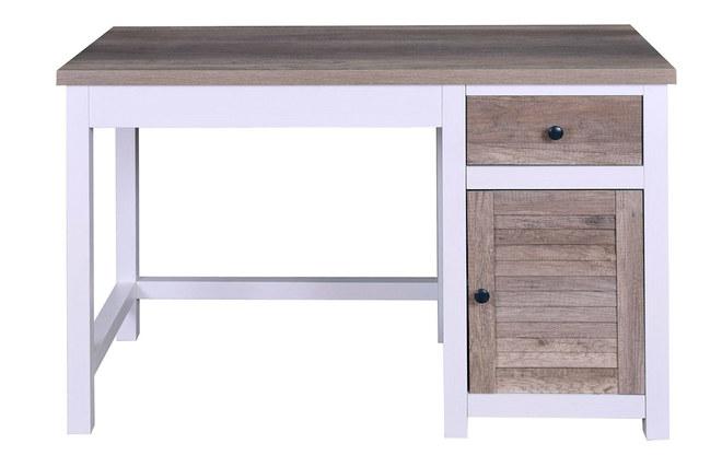 Bureau avec rangements bois et blanc pagnol miliboo