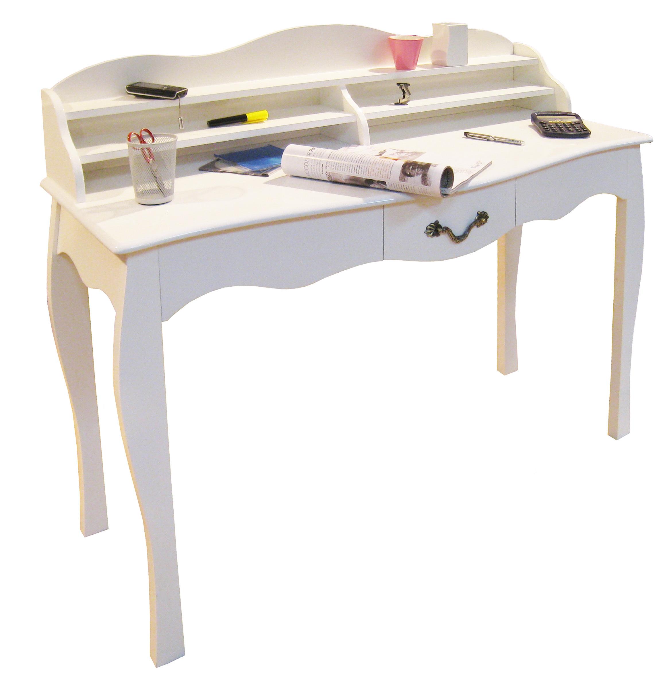 Bureau baroque blanc 1 tiroir LOUISA