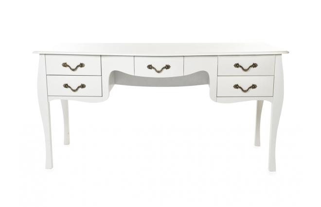 Bureau baroque blanc 5 tiroirs louisa miliboo for Miroir des modes 427