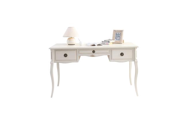 Bureau baroque blanc bianca miliboo for Bureau romantique blanc