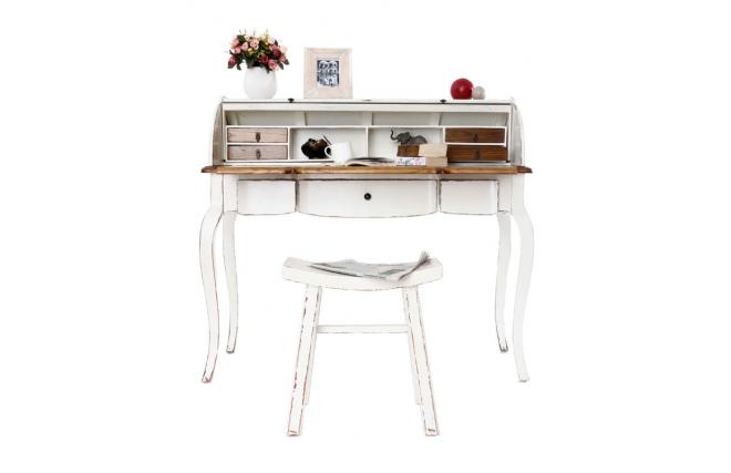 Bureau baroque bois blanc sofia miliboo