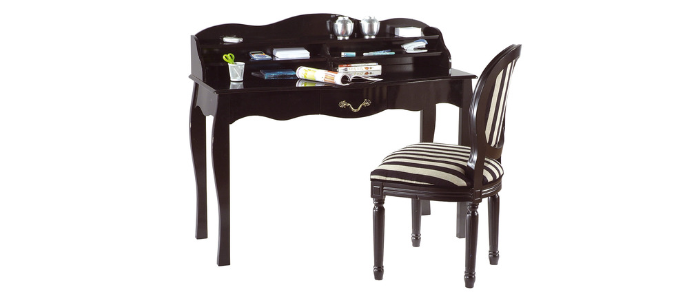 Bureau baroque noir 1 tiroir Louisa