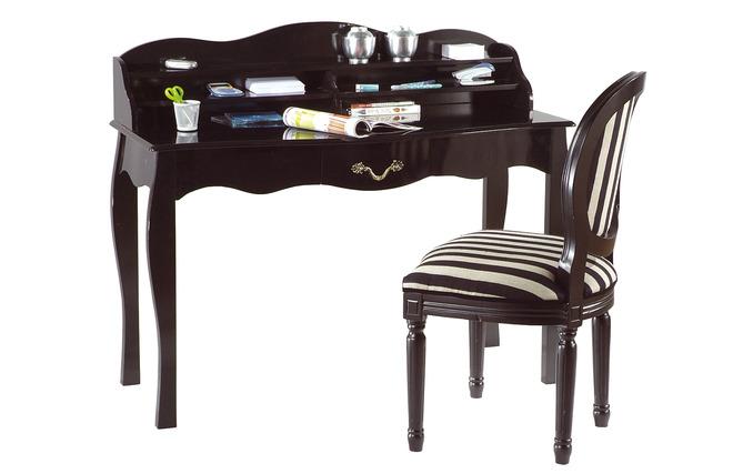 Bureau baroque noir 1 tiroir louisa miliboo