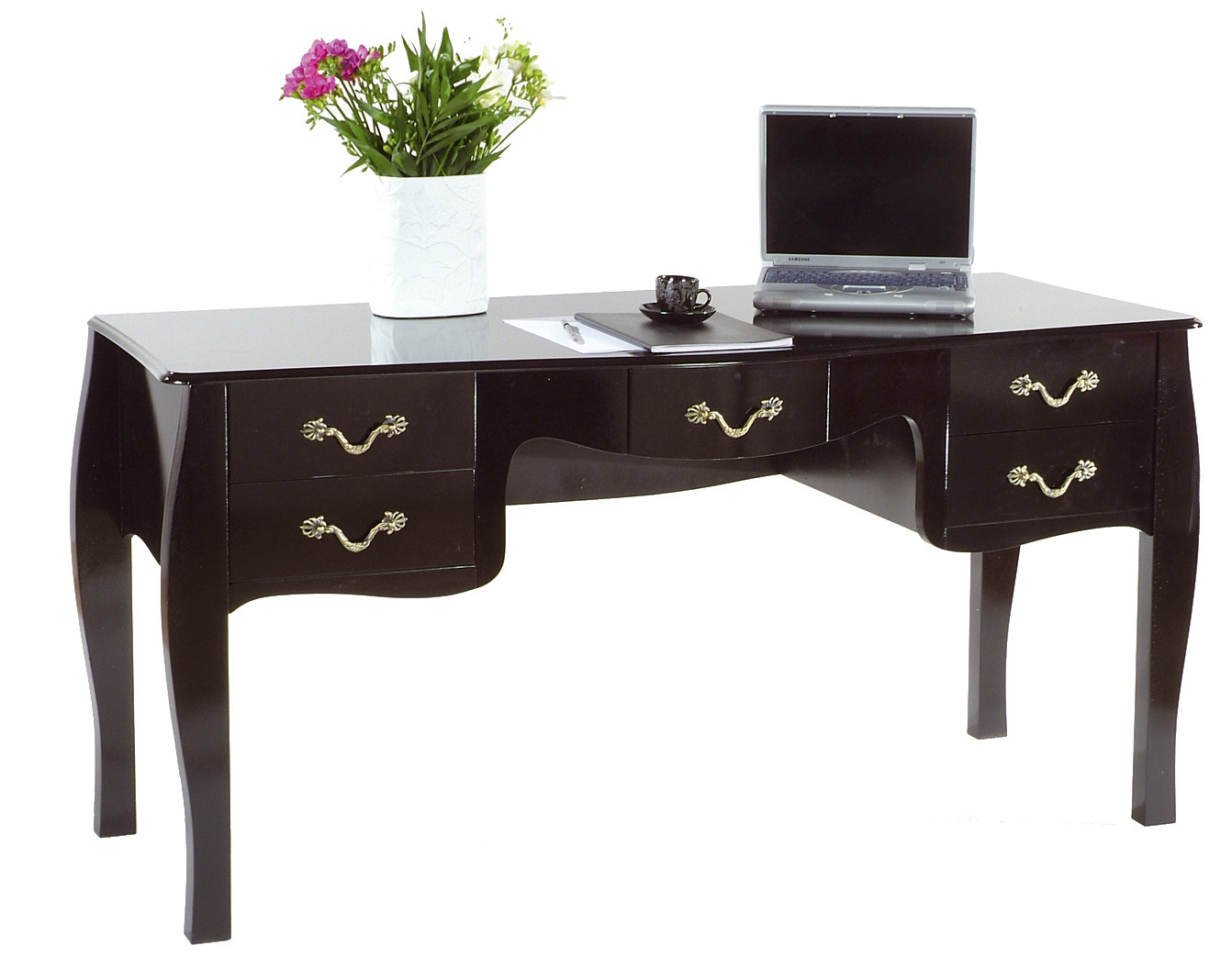 bureau baroque noir 5 tiroirs louisa miliboo. Black Bedroom Furniture Sets. Home Design Ideas