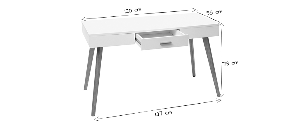 Bureau chêne et blanc 120cm GILDA