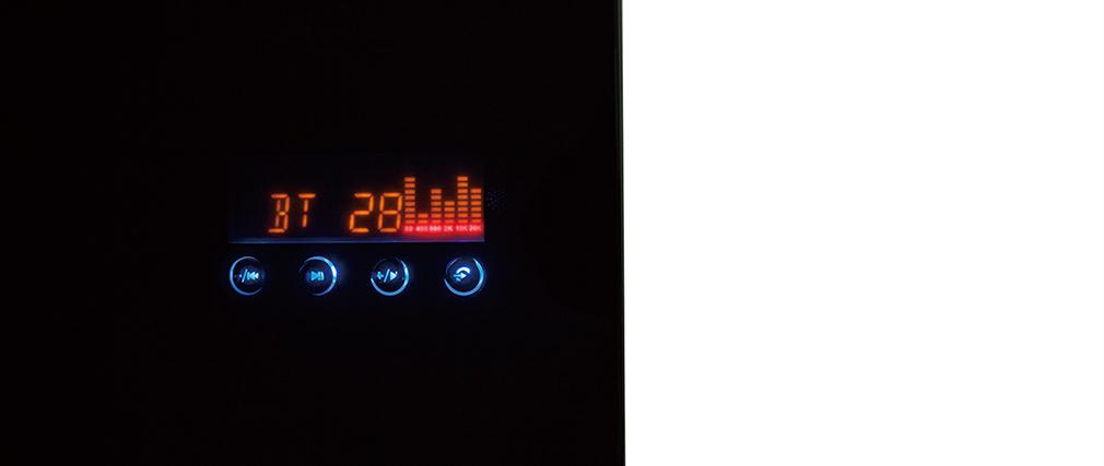 Bureau connecté multimédia en verre noir et noyer CLEVER