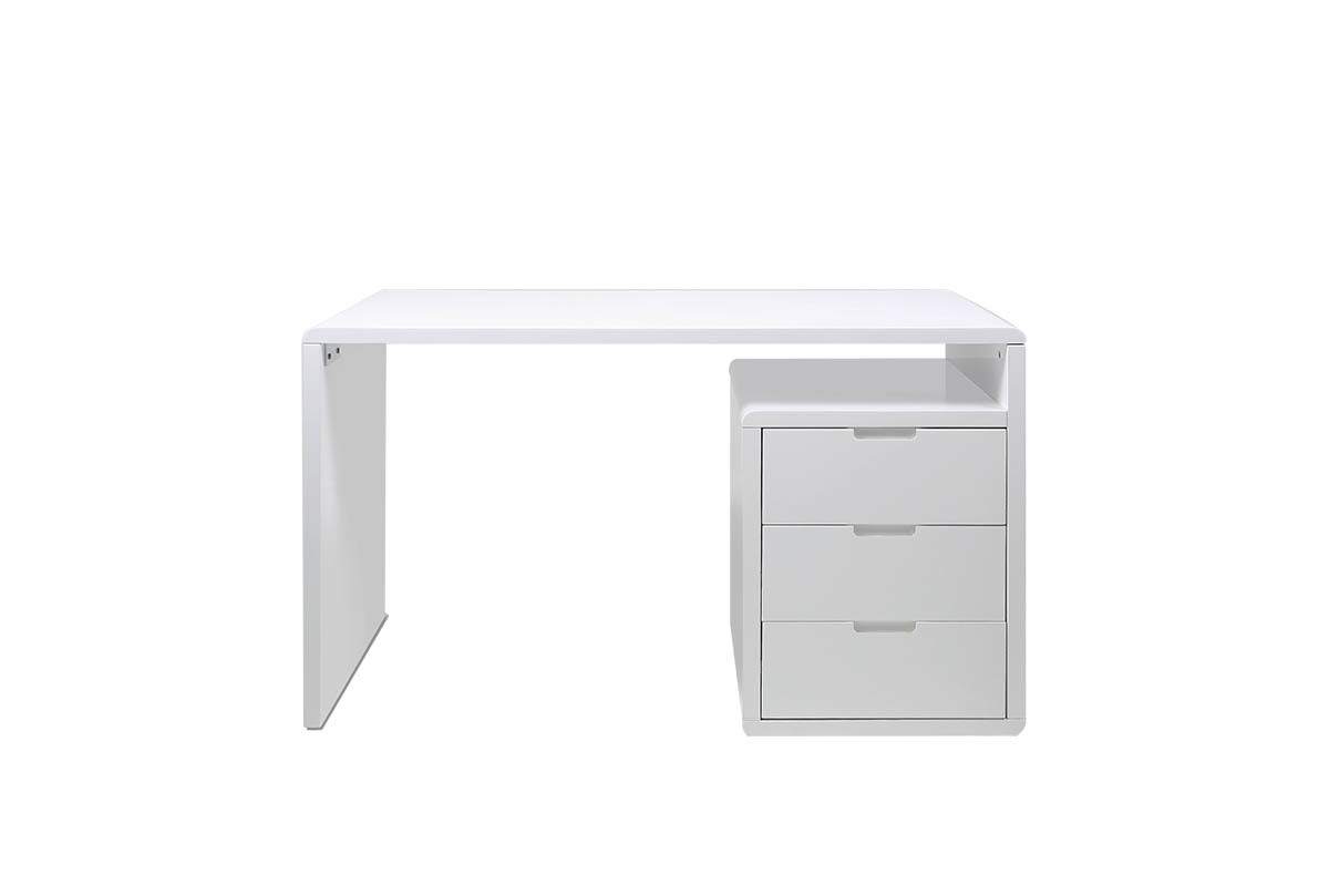 bureau design 3 tiroirs blanc laqu samy miliboo. Black Bedroom Furniture Sets. Home Design Ideas