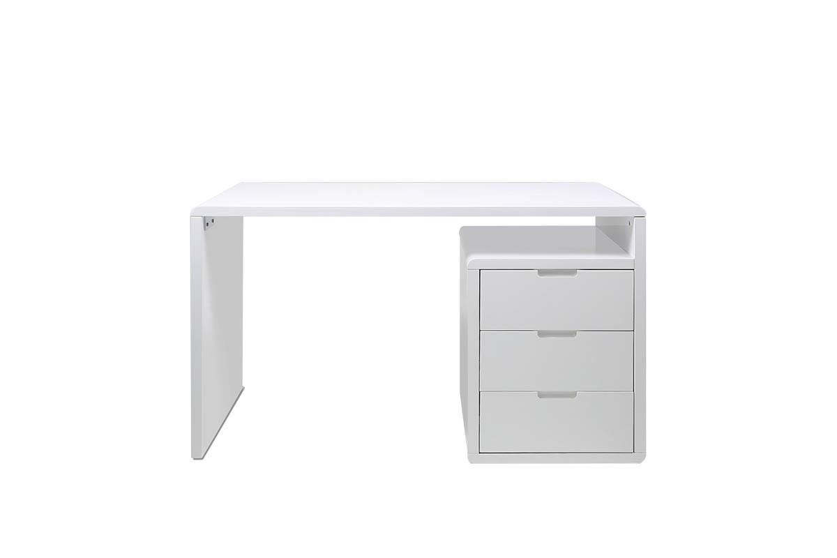 Bureau design 3 tiroirs blanc laqu samy miliboo for Grand bureau blanc laque