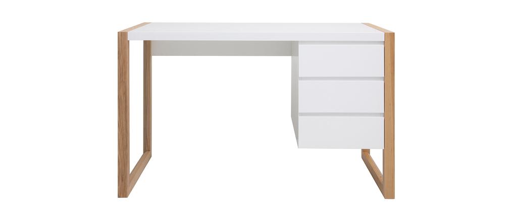 Bureau design 3 tiroirs blanc mat ARMEL