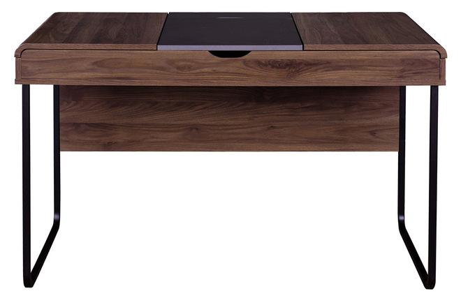 Bureau design avec plateau coulissant bois et gris quint miliboo