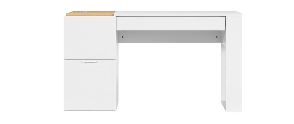 Bureau design avec rangements blanc et bois L142 cm OCTAVE