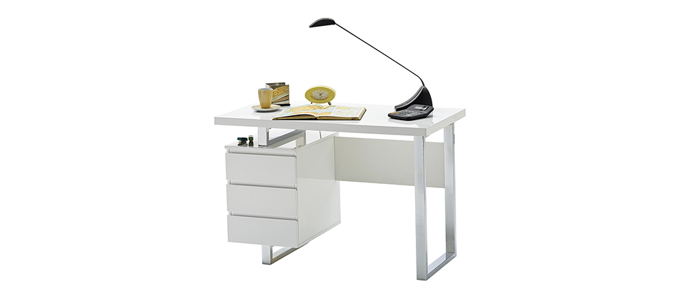 Bureau design avec rangements blanc laqué brillant L115 cm KANY