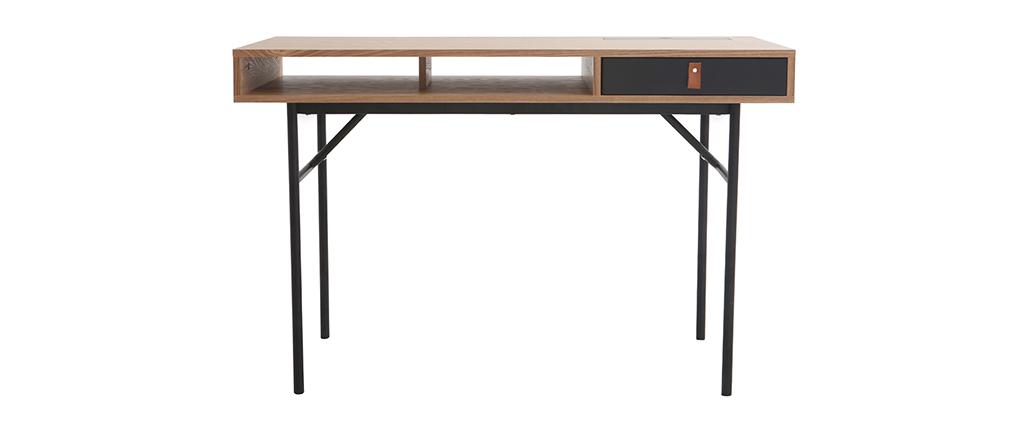 Bureau design avec rangements bois chêne et noir OFICI