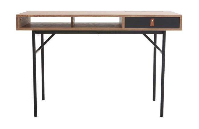 Bureau design avec rangements bois chêne et noir ofici miliboo