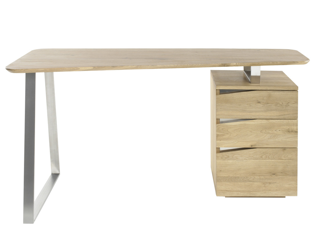 Bureau Design Avec Rangements Metal Et Bois L150 Janis Miliboo