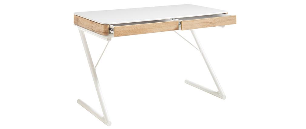 Bureau design avec tiroirs blanc mat et bois L120 cm POES