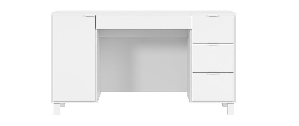Bureau design blanc avec caisson et tiroirs L140 cm GALLO