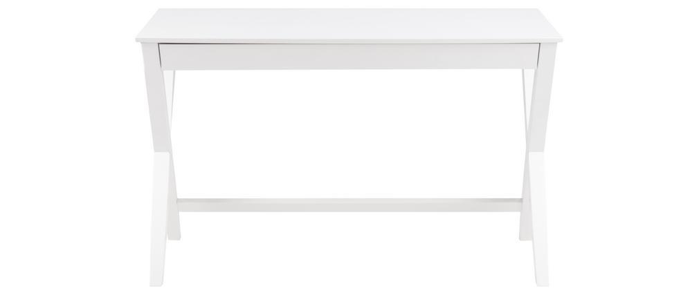 Bureau design blanc avec tiroir L120 cm VICE
