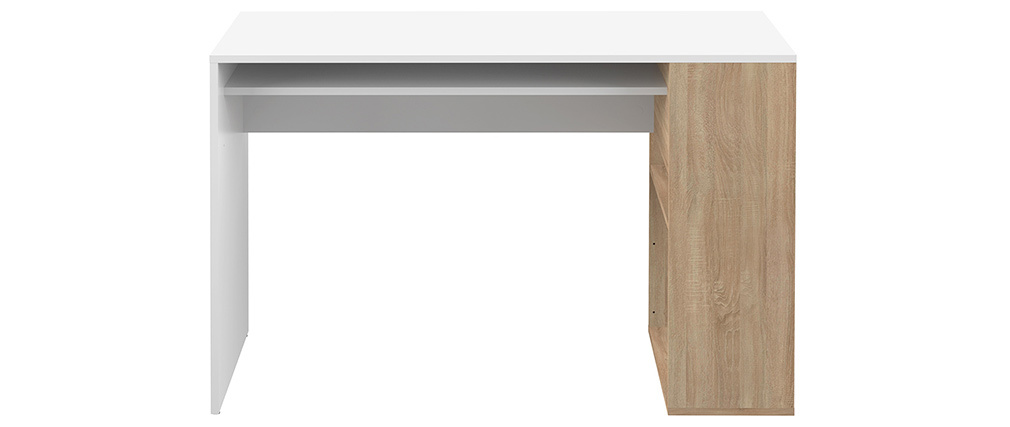 Bureau design blanc et bois clair L114 cm ROUSSO