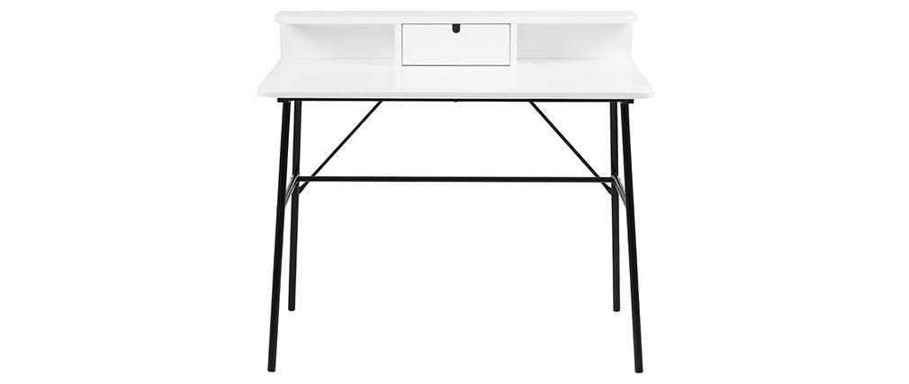 Bureau design blanc et métal noir NEVA