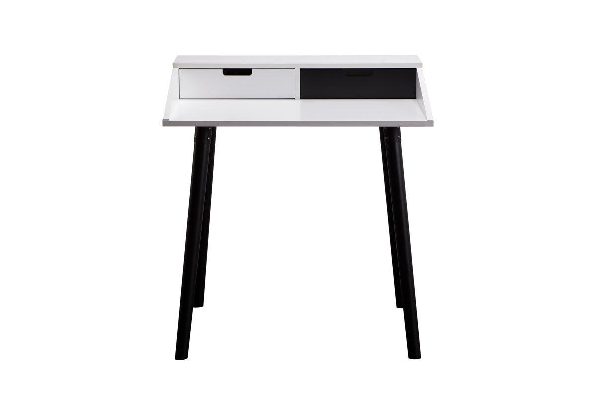 Bureau design blanc et noir 2 tiroirs largo miliboo for Bureau noir et blanc