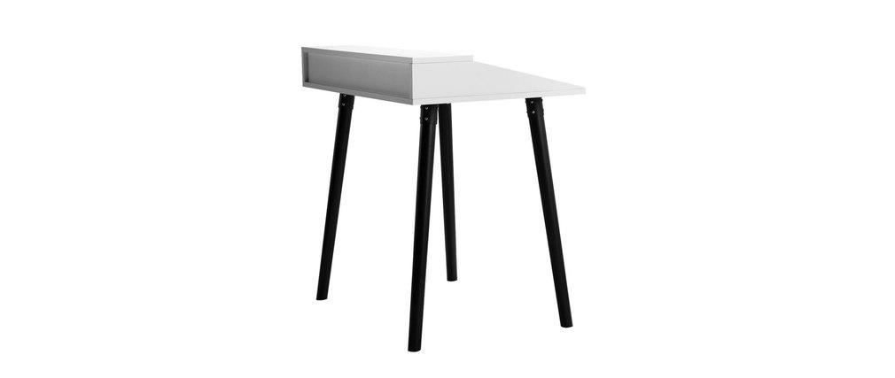 Bureau design blanc et noir 2 tiroirs largo miliboo Bureau blanc et noir