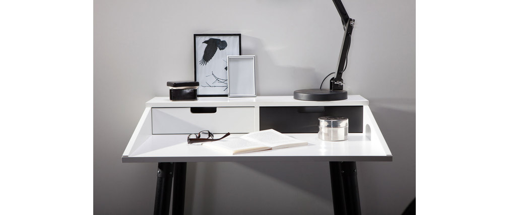 bureau design blanc et noir 2 tiroirs largo miliboo. Black Bedroom Furniture Sets. Home Design Ideas