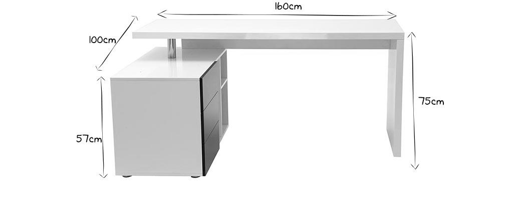 Bureau design blanc et noir laqué rangements à gauche MAXI