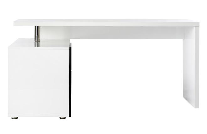 Bureau design blanc et noir laqué rangements à gauche maxi miliboo