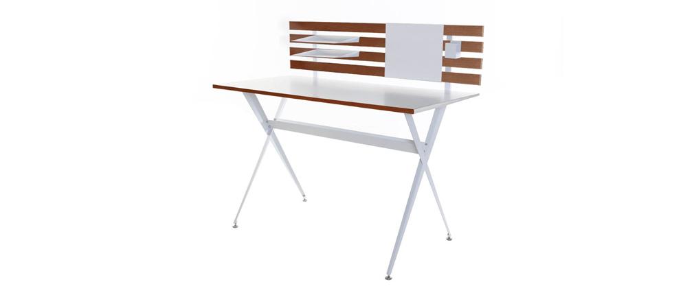Bureau Design Bois Et Blanc : Bureau design blanc et placage bois ABSO ( Ce produit n'est plus