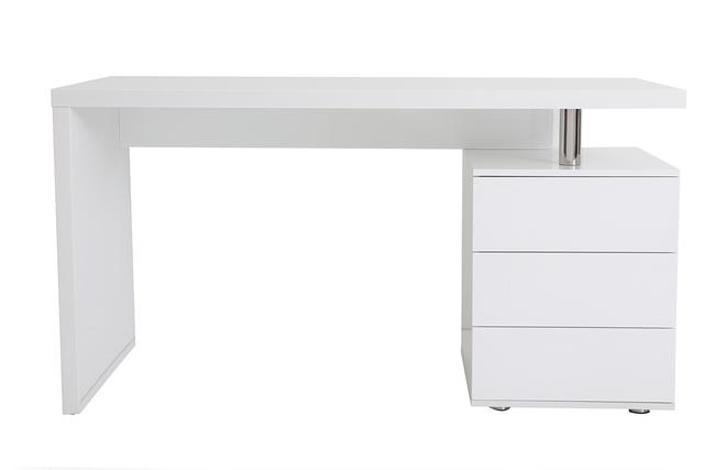 Bureau design blanc laqué 3 tiroirs calix miliboo