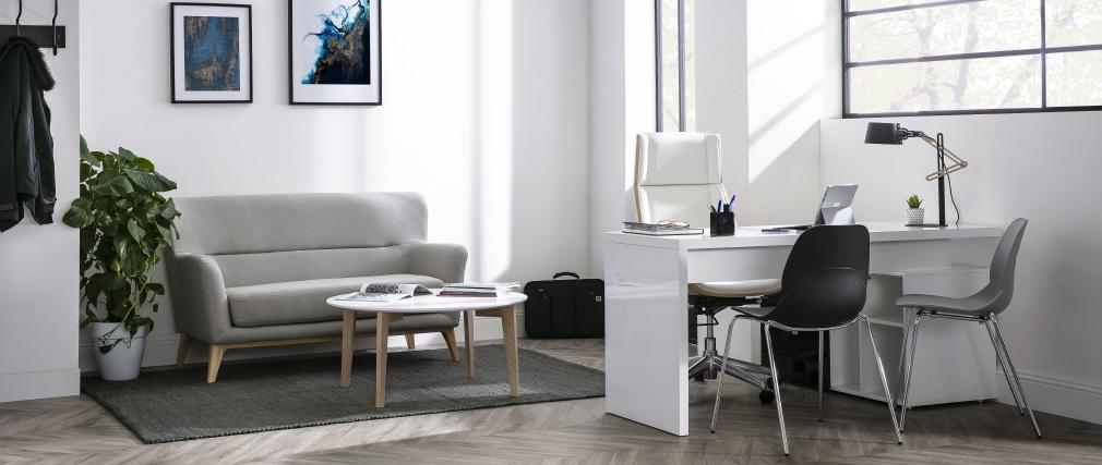 Bureau design blanc laqué brillant rangements à droite MAXI