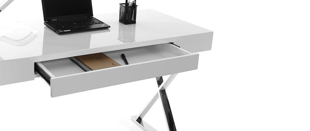 Bureau design blanc laqué LUCA