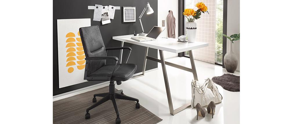 Bureau design blanc mat et métal brossé STYLO
