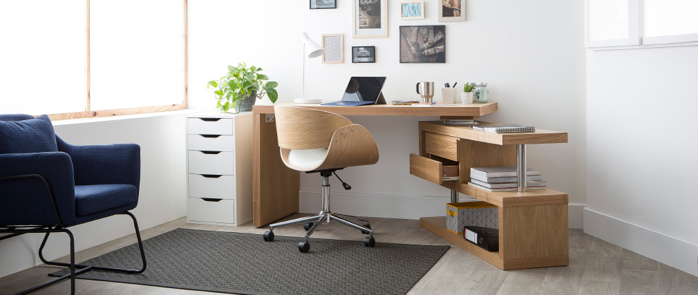 Bureau design bois amovible max miliboo for Grand bureau en bois