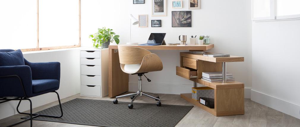 bureau design bois amovible max miliboo. Black Bedroom Furniture Sets. Home Design Ideas