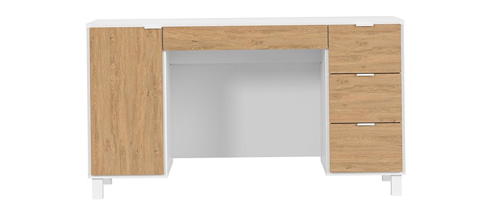 Bureau design bois et blanc avec caisson et tiroirs L140 cm GALLO