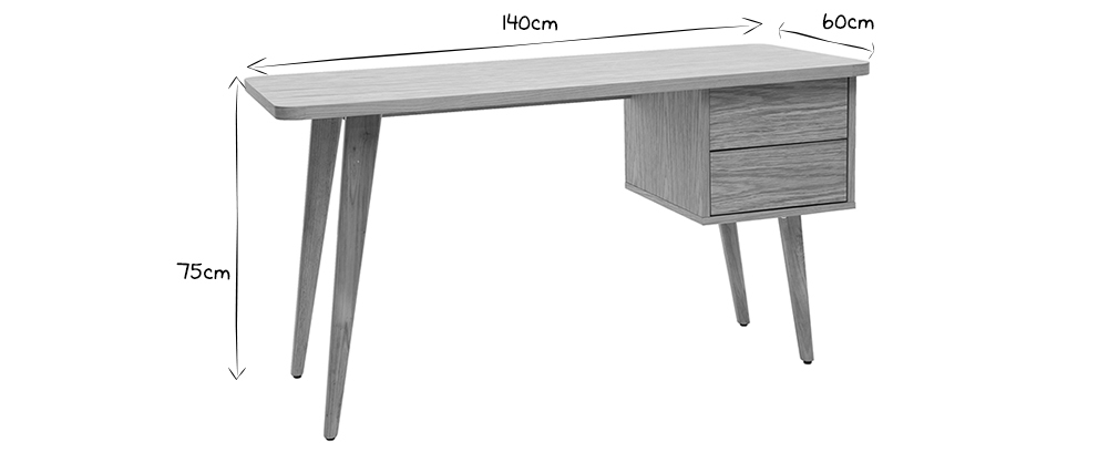 Bureau design chêne L140 FIFTIES