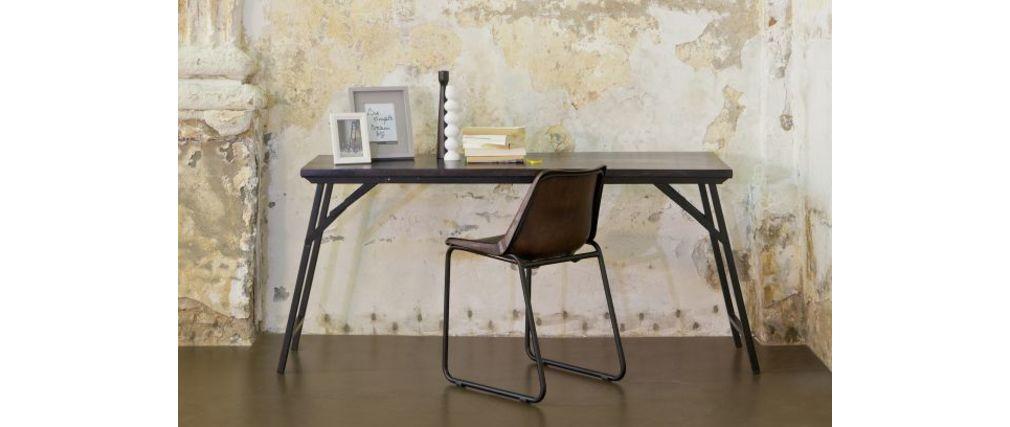 Bureau Design Bois Metal : Bureau design/console bois et m?tal noir GROOV – Miliboo