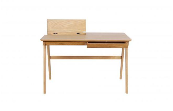 Bureau design en fr ne vernis 2 tiroirs femos miliboo for Bureau design 2 tiroirs