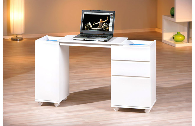 Bureau design extensible laqu blanc noe miliboo for Bureau extensible