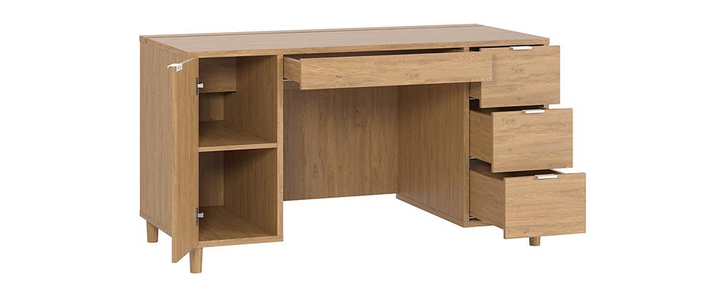 Bureau design finition chêne avec caisson et tiroirs L140 cm GALLO